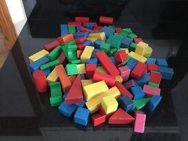 120 Wooden Blocks, Various Colours
