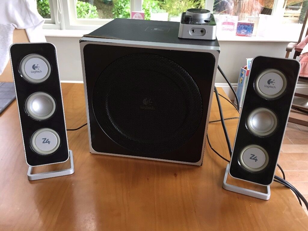Logitech Z4 2.1 speakers with integrated amp.