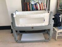 Snuzpod 2 - 3 in 1 Bedside Crib in Dove Grey - includes mattress & protectors