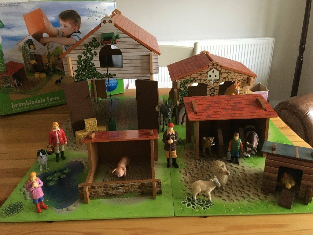 ELC Brambledale Wooden Farm Playset with Animals and Farming Family