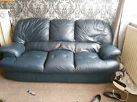 Real leather 3 seater and 2 chairs