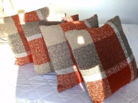 Four 50 X 50 cm (20inch) Boucle Terracotta/Grey Check Textured Scatter Cushions