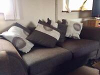 Dark brown sofa suite