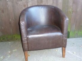 Large Leather Tub Chair Delivery Available £5