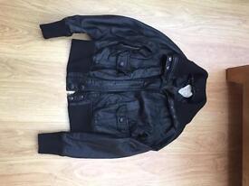 Ladies fake leather bomber jacket