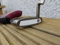 ODYSSEY WHITE ICE SABERTOOTH2 PUTTER, 35 IN LONG, BRAND NEW GOLF PRIDE TOUR SNSR 140 GRIP AND COVER