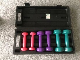Weights Set. x2 0.5kg, x2 1kg, x2 1.5kg and carry case