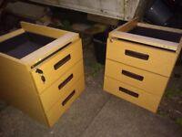 Desk Pedestals, set of 2, oak finish, lockable with keys