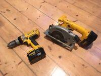 DeWalt Cordless Drill & Circular Saw set 14.v 2 Batteries and Charger