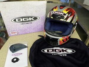 MOTORCYCLE HELMET RGX OGK EXTRA LARGE (XL) SILVER/YELLOW/RED RG-X NO VISOR R30