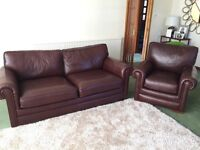 Chocolate Brown Derwent Leather Suite. 3 pcs.