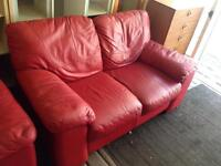 Lovely Red Leather Sofas 2x2 - Excellent Condition
