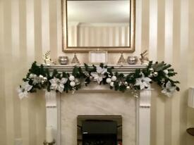 Handmade white and silver Christmas garlands