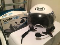 Gents large open face helmet, US Flag design with Cardo Solo Bluetooth. £40