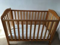 Mothercare Cot with mattress (Drop Side mechanism, 3 height positions) Baby and Kids Cot (0-5 years)