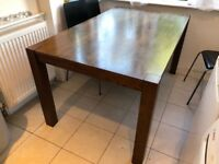 Dinning table with 6 black chairs