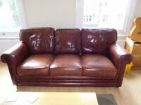 3 seater leather sofa with storage foot stool