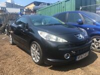 PEUGEOT 207 GT CC, 1.6 HDI  CONVERTIBLE, 2007 (57 PLATE), FOR SPARES OR REPAIRS