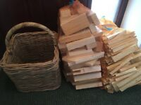 Log basket and kindling