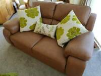 3 seater and 2 seater tan leather sofas