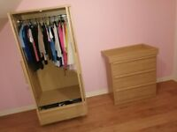 Mamas and Papas Matching Wardrobe with Drawer and Chest of Drawers with removable Changing table.