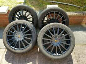 Ford alloy 4 stud wheels with 4 good tyres