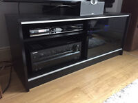 "TV / Entertainment Unit / Stand in black - up to 50"" TV, 110cm"