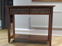 NEXT Hall/Console Table in dark brown with two wicker draws