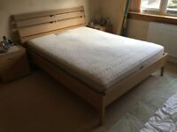 WOODEN FRAME BED WITH SEALY MATTRESS