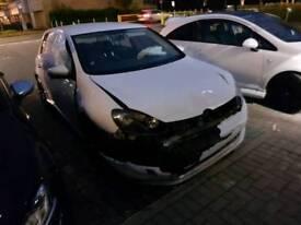 DAMAGED VOLKSWAGEN VW GOLF MK6 GT TDI 2009 CAT D WHITE S3 A3 120D DSG SALVAGE