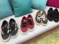 3 prs of Vans and 1 pr of R L Polo shoes