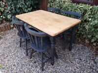 Brilliant 'Graphite' Solid Oak Farmhouse/Bistro Rectangular Dining Table & 4 Chunky Chairs.