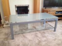 Rectangular glass-top coffee table