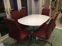 White Glass And Chrome Dining Table and 6 Chairs