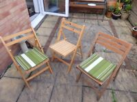 Solid wood folding garden chairs (sold separately at £4 or all 3 for £10)