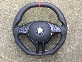 BMW M3 M5 E46 E39 X5 INDIVIDUAL FLAT TOP & BOTTOM CUSTOM MADE MULTIFUNCTION STEERING WHEEL