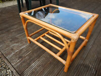 Cane Table with Glass Top and Under Storage Shelf