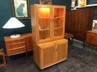 Windsor High Sideboard / Bookcase / Display Cabinet in Elm by Ercol. Retro Vintage Mid Century