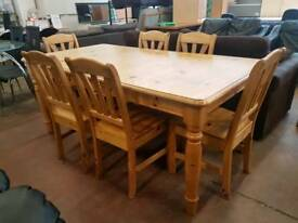 Pine extending table and six chairs