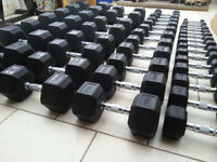 Brand New Rubber Hex Dumbbells FULL GYM SET 1KG - 50KG 18 PAIRS + 2 Racks Fitness Equipment Ergo