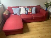 3 seater L shape/corner sofa bed with storage - RED - needs to go ASAP!