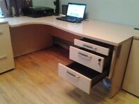 Cheap Quality Corner Desk in Beech Effect in Excellent Condition.