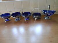 A Set of Cobalt Blue Bowls Stainless Chromium Plated
