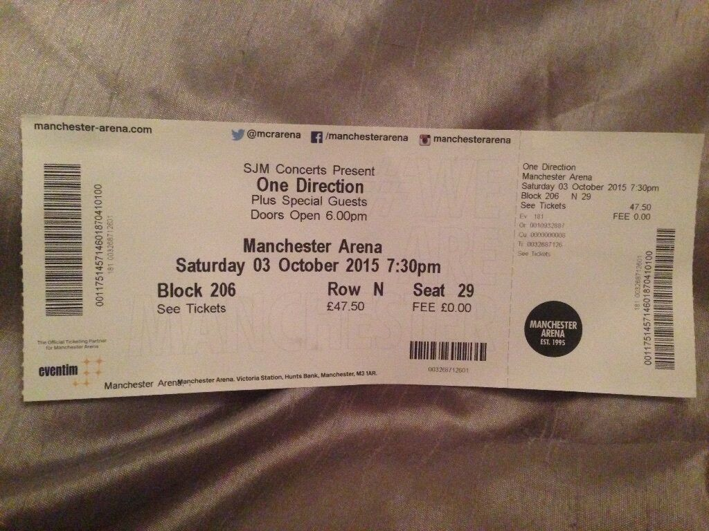 One Direction Manchester 3rd October Must Sell In Longton