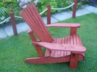patio adirondack chair, stained in red cedar