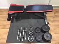 Weight Bench + free weights