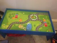 Wooden table train and car set
