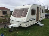 Abbey adveture 2003 fixed bed 4 berth 17foot shower with swivel toilet with electric heating system