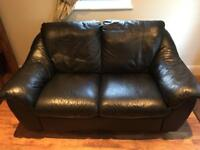 Ikea Black Two Seater Leather Sofa
