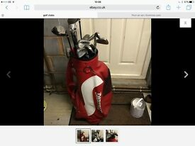 Full set of golf clubs plus bag